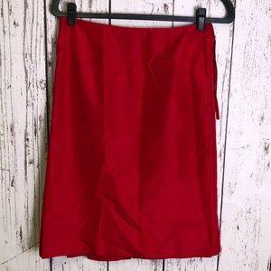 MARC JACOBS Red Silk Exposed Zipper Skirt 4
